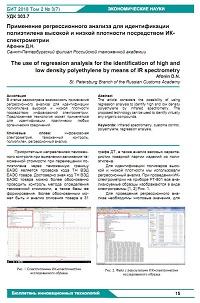 Применение регрессионного анализа для идентификации полиэтилена высокой и низкой плотности посредством ИК-спектрометрии