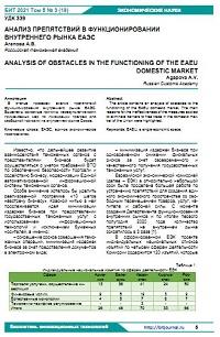 Анализ препятствий в функционировании внутреннего рынка ЕАЭС