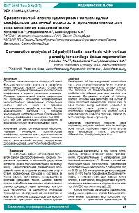 Сравнительный анализ трехмерных полилактидных скаффолдов различной пористости, предназначенных для восстановления хрящевой ткани